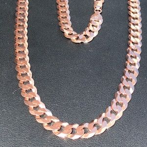 Other - Men's Rose Gold Miami Cuban Chain Solid 925 Silver